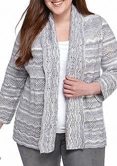 Alfred Dunner Plus Size Amazing Gray Pointelle Cardigan