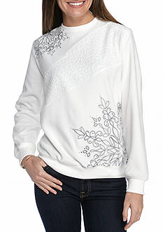 Alfred Dunner Petite Northern Lights Asymmetric Embroidery Sweater