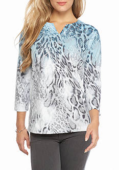 Alfred Dunner Petite Northern Lights Ombre Animal Knit Top