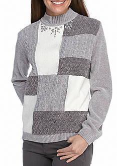 Alfred Dunner Petite Northern Lights Colorblock Chenille Sweater