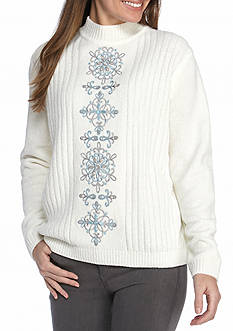 Alfred Dunner Northern Lights  Detailed Sweater