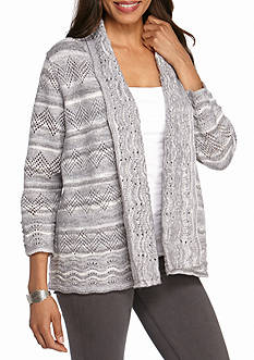 Alfred Dunner Northern Light Pointelle Cardigan Sweater