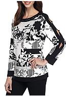 Alfred Dunner Theater District Stripe Floral Knit