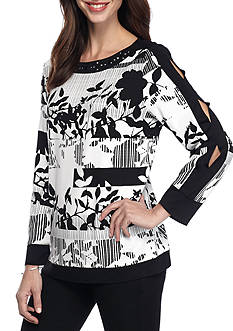 Alfred Dunner Theater District Stripe Floral Knit Top
