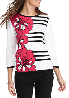 Alfred Dunner Thea Floral Stripe Sweater