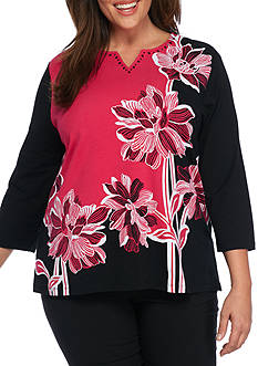 Alfred Dunner Plus Size Theater District Asymmetric Floral Top