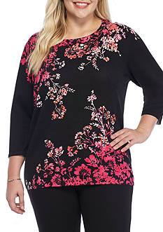 Alfred Dunner Plus Size Theater District 3/4 Sleeve Floral Top