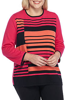 Alfred Dunner Plus Size Theater District Stripe Colorblock Sweater