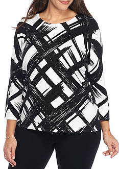 Alfred Dunner Plus Size Theater District Brushstroke Knit Top