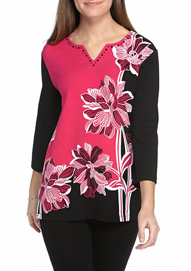 Alfred Dunner Petite Theater District Asymmetric Floral Knit Top