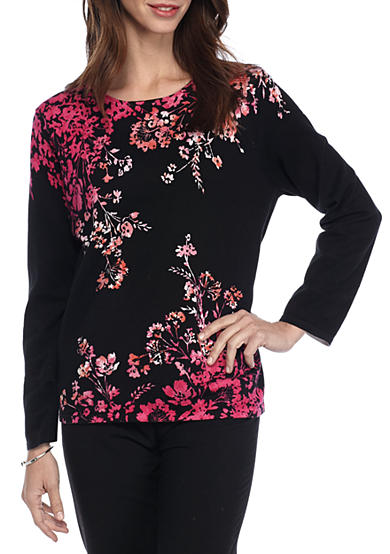 Alfred Dunner Theater District Floral Sweater