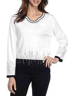 Alfred Dunner Theater District Heat Border Sweater