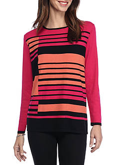 Alfred Dunner Theater District Stripe Colorblock Sweater