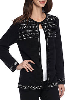 Alfred Dunner Theater District Studded Texture Cardigan Sweater