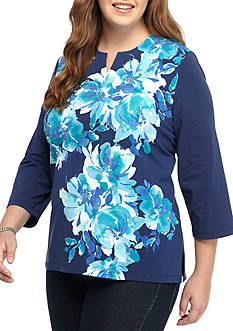 Alfred Dunner Plus Size Theater District Diagonal Flower