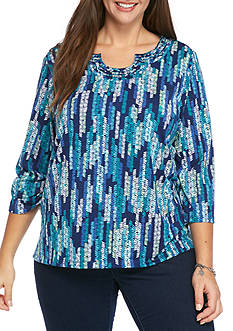 Alfred Dunner Plus Size Adirondack Trial Texture Zigzag Knit Top