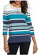 Alfred Dunner Petite Adirondack Trail Stripe Knit