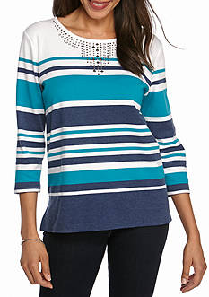 Alfred Dunner Petite Adirondack Trail Stripe Knit Top