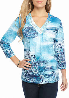 Alfred Dunner Petite Adirondack Trail Paisley Knit Top