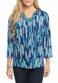 Alfred Dunner Petite Adirondack Trail Texture Zig Zag Knit Top