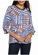 Alfred Dunner Uptown Girl Printed Button Up Blouse