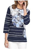 Alfred Dunner Uptown Girl Floral and Stripe Knit