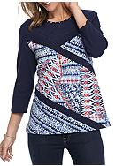Alfred Dunner Uptown Girl Splice Patchwork Knit