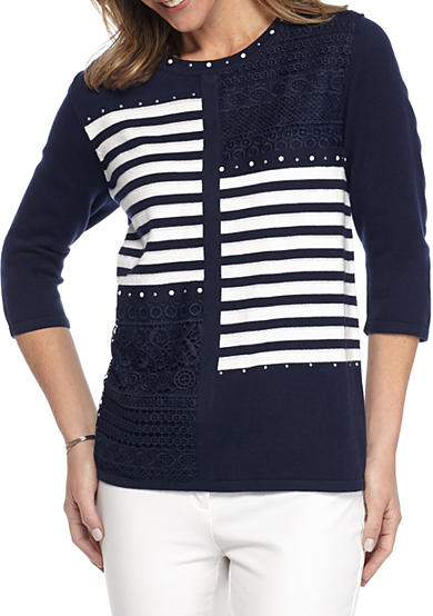 Alfred Dunner Uptown Girl Stripe Patchwork Sweater