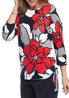 Alfred Dunner Uptown Girl Floral Print Sweater
