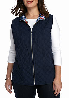 Alfred Dunner Plus Size Uptown Girl Reversible Vest