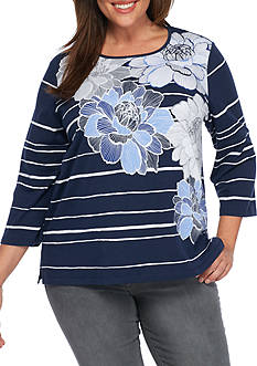 Alfred Dunner Uptown Girl Floral Stripe Knit Top