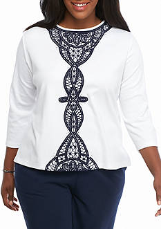 Alfred Dunner Plus Size Uptown Girl Lace Center Knit Top