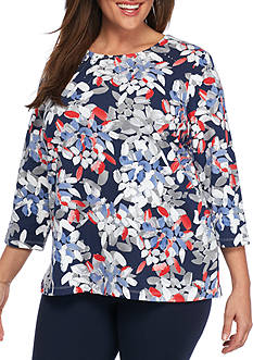 Alfred Dunner Plus Size Uptown Girl Abstract Leaf Knit Top