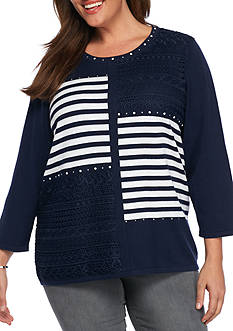 Alfred Dunner Plus Size Uptown Girl Stripe Patchwork Sweater
