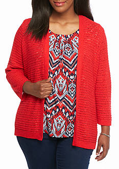 Alfred Dunner Plus Size Uptown Girl Zig Zag Two Piece Top
