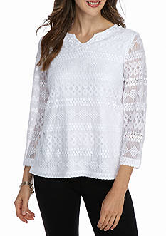 Alfred Dunner Petite Uptown Girl Textured Lace Knit Top
