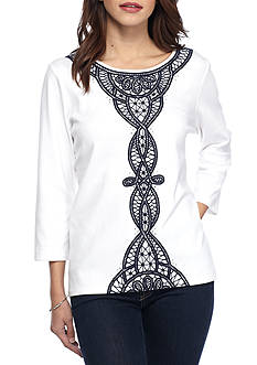 Alfred Dunner Uptown Girl Lace Center Knit Top