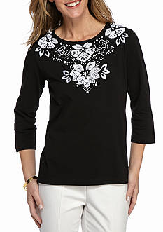 Alfred Dunner City Life Floral Yoke Knit Top