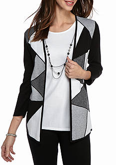 Alfred Dunner City Life Check 2Fer Sweater