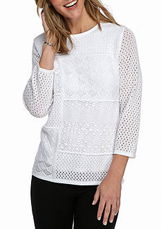 Alfred Dunner City Life Pitch Pointelle Sweater