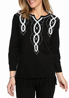 Alfred Dunner City Life Yoke with Fringe Sweater