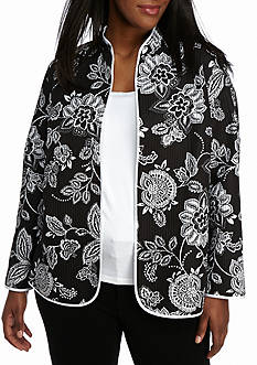 Alfred Dunner Plus Size City Life Floral Jacket