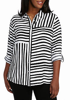 Alfred Dunner Plus Size City Life Stripe Woven Top