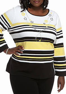 Alfred Dunner Plus Size City Limits Stripe Knit Top