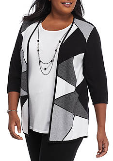 Alfred Dunner Plus Size City Limits 2Fer Sweater