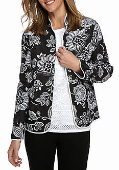 Alfred Dunner Petite City Life Floral Quilted Jacket