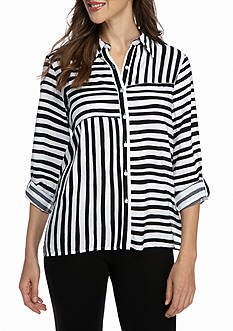 Alfred Dunner City Life Striped Button-Up Top