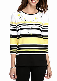 Alfred Dunner Petite City Life Stripe Knit Top with Necklace