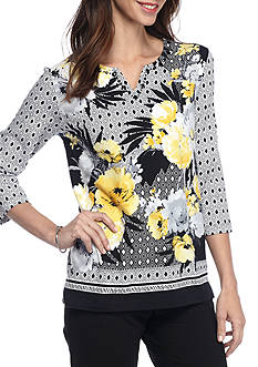 Alfred Dunner City Life Floral Border Knit Top