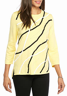 Alfred Dunner Petite City Life Sunburst Knit Top